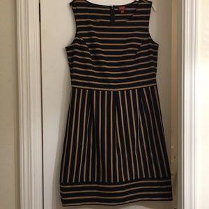 Ladies black & gold striped dress